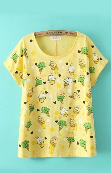 Ice Creams Printing O-neck Short Sleeves Cotton T-shirt