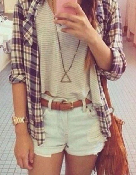 tank top bag shirt shorts plaid cute loose jewels