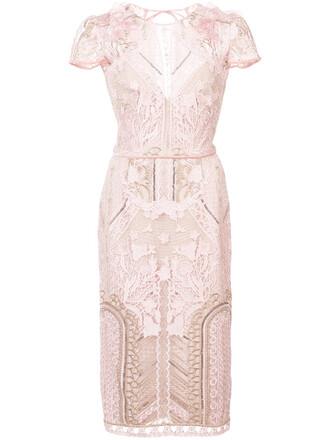 dress lace dress embroidered women lace silk purple pink