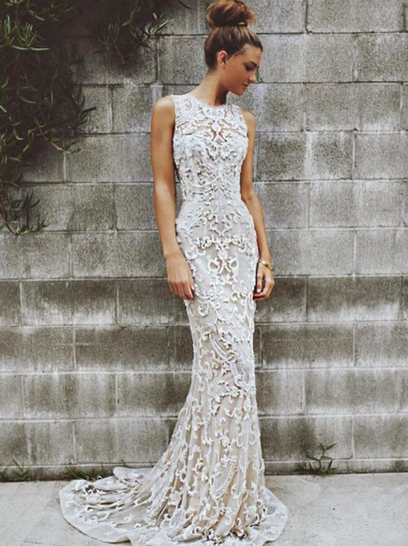 277ea215f0f dress long dress lace dress white dress crochet elegant slim dress high neck  formal long lace
