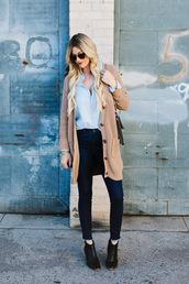 a little dash of darling,blogger,top,sweater,cardigan,bag,sunglasses,shoes,jewels,make-up,camel cardigan,blue shirt,denim,jeans,blue jeans,skinny jeans,boots