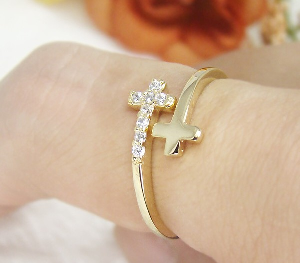 jewels double cross cross christian ring braclet