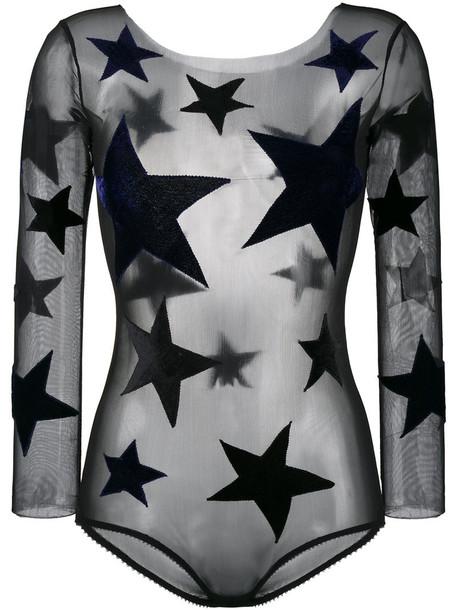 Alexia Hentsch bodysuit women spandex black silk velvet underwear