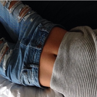 shirt jeans destroyed boyfriend jeans pants knitted sweater knit blouse top grey sweater grey top