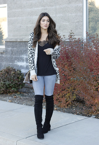 seekingsunshine blogger cardigan tank top jeans shoes black top over the knee boots boots fall outfits