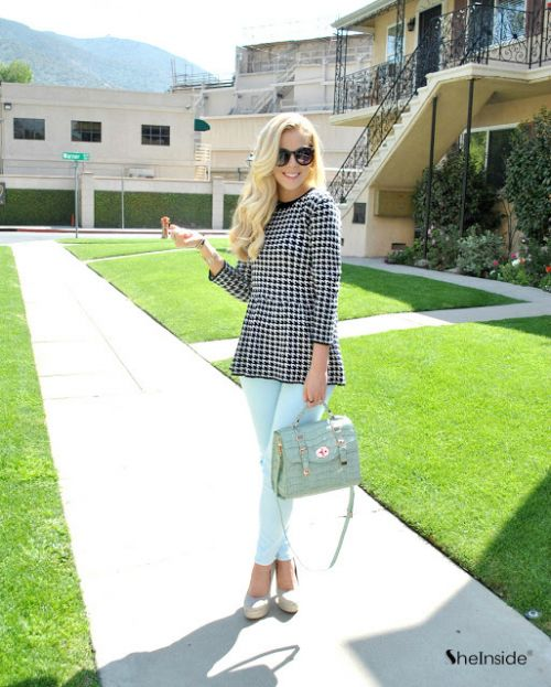 Black and White Houndstooth Long Sleeve Peplum Knitwear - Sheinside.com