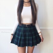 top,white,green,blue,black,skirt,cute,crop tops,plaid,plaid skirt,mini skirt,skater skirt,pleated skirt,pleated,cute top,white crop tops,plaid skater skirt,jewelry,choker necklace,black choker,necklace,grunge,grunge jewelry,tumblr outfit,skater shirt,back to school,school uniform,shirt,white top