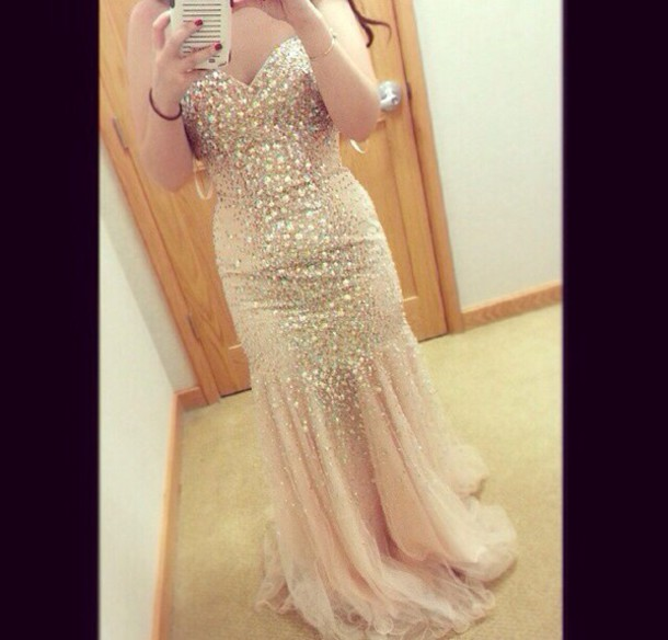 dress champagne dress prom dress
