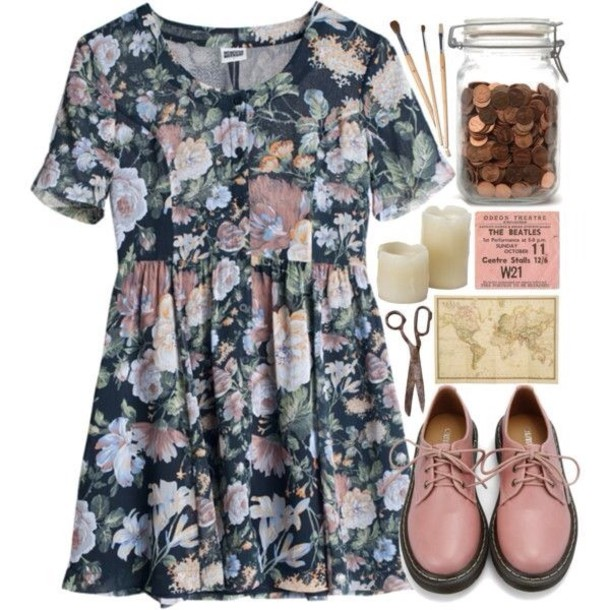 shoes  pink  lace  polyvore  dress  floral dress  button down  hipster  indie  soft grunge