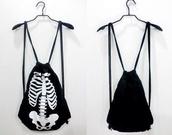 bag,school bag,skull,black,white,skeleton,drawstring backpack,backpack