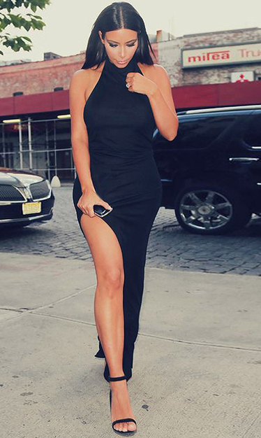 High Neck Slit Evening Bandage Dress Black