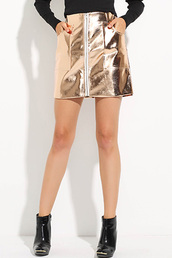 skirt,gold-zipper-front-pockets-decor-punk-pu-skirt,pu leather skirt,zip