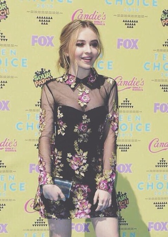 dress sabrina carpenter teen choice floral dress flowers sheer embroidered embroidered dress collared dress purple bag girl meets world teen choice awards
