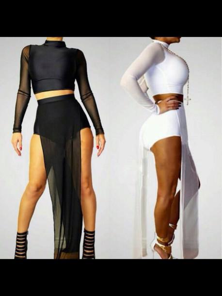dress black crop top white dress style fashion