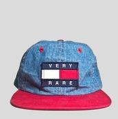 hat,dope,urban outfitters,urban,urban menswear,hipster menswear,menswear,5 panel,red,denim,blue,white,tommy hilfiger,denim hat,blue red,very rare
