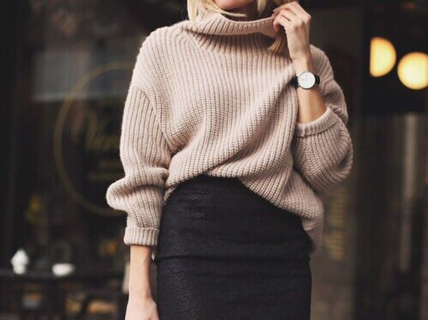 Beige Oversized Turtleneck Sweater - Shop for Beige Oversized ...