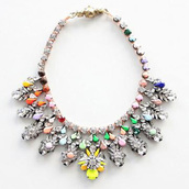 jewels,statement necklace,colorful necklace,shourouk,crystal