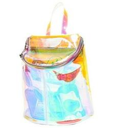 Online shop 2014 summer new trend harajuku transparent hologram flocking wallpager multicolor laser backpack for girls womens
