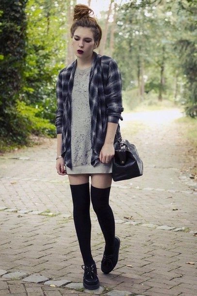 shirt grunge flannel shirt dress
