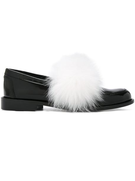 Joshua Sanders fur fox women plastic slippers leather white black shoes