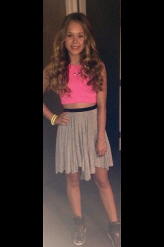 top pink pink top neon pink neon neon pink top girly brec bassinger pretty style necklace jewels skirt beige black shoes outfit bella and the bulldogs beige skirts