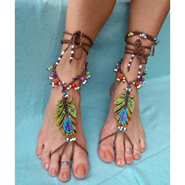 Bohemian barefoot sandals peacock feather for many occasions...