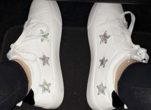 shoes luna blaise holo stars loren beech loren gray white holographic holographic shoes stars