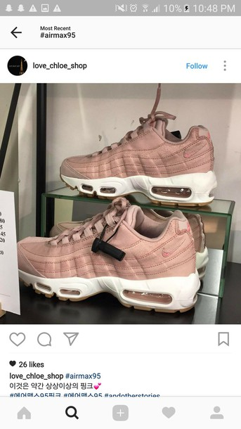 online retailer 7c1de cb30b shoes nike air max 95 air max 95 nike shoes nike trainers oxford pink pink  nude