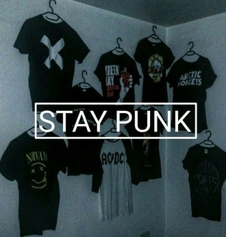 black t-shirt nirvana arctic monkeys ac/dc green day t-shirt punk rock grunge x cross
