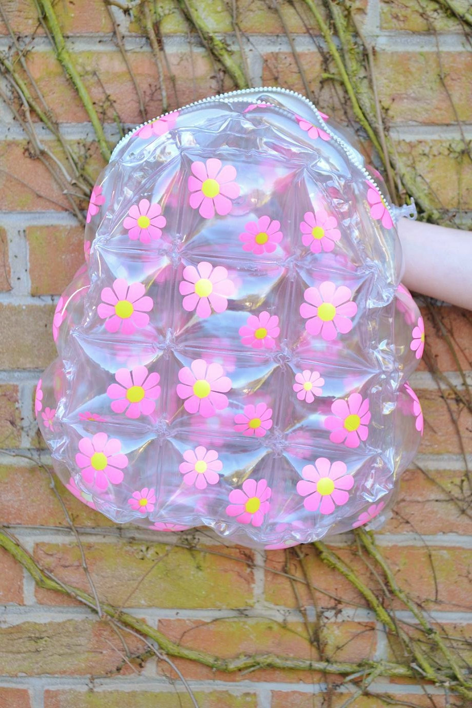 Inflatable furniture 90s - Pink 90s Daisy Flower Floral Club Kid See Through Clear Plastic Blow Up Inflatable Bubble Bag Rucksack Backpack