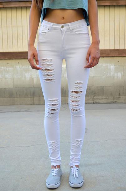 ed10ce254e5 jeans denim white white jeans skinny jeans skinny pants white skinny jeans  ripped jeans ripped white