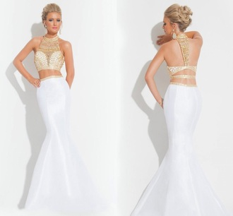 dress white dress gold two piece
