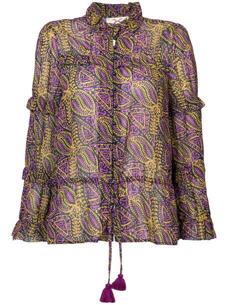 Figue blouse women cotton purple pink top