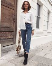 white shirt,button up,casual,jeans,black boots,shoulder bag,animal print bag,long sleeves