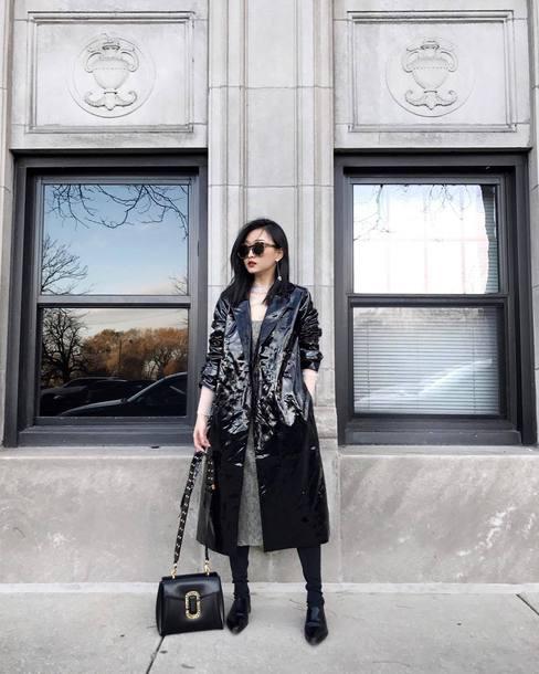 coat tumblr leather leather coat black coat black long coat long coat bag black bag sunglasses vinyl boots
