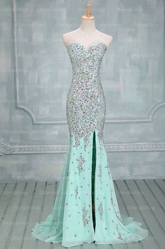 dress teal dress side split maxi dress crystal sweetheart dresses long prom dress