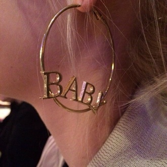 jewels hoop earrings earrings baby gold ratchet soft ghetto ghetto name please tumblr tumblr girl writing script large earrings