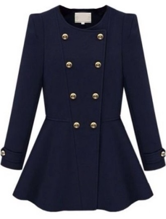 girly jacket gold buttons navy coat