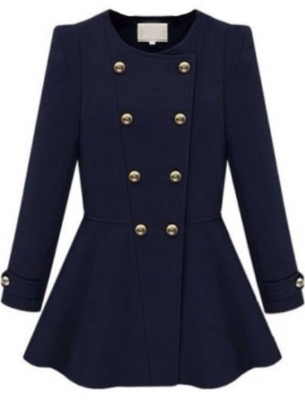 jacket gold buttons navy coat girly