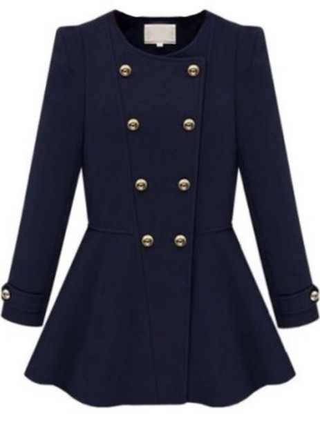 Jacket Gold Buttons Navy Girly Coat Wheretoget