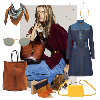 look de pernille blogger printed scarf gucci denim dress 70s style suede bag