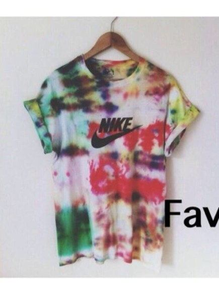 shirt blue black colorful shirt red green yellow nike white dipped dip dyed diy