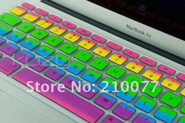 Retail verpakking 10pcs/lot regenboog stijl toetsenbord hoes siliconen skin sticker voor macbook pro air in  van  op Aliexpress.com