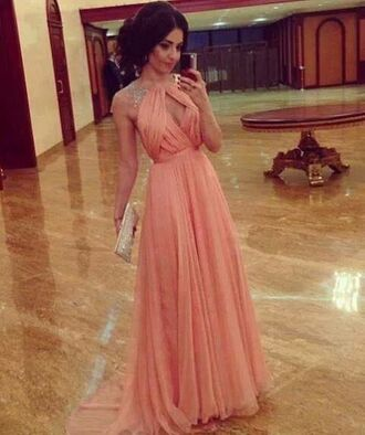 dress pink dress prom dress peach dress sequins maxi dress elegant dress elegannt tumblr