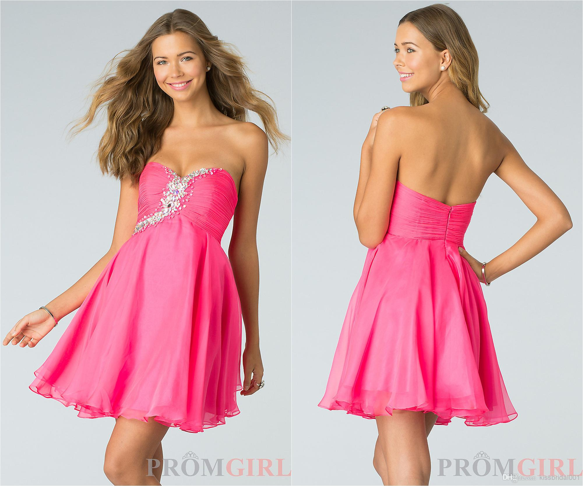 Wholesale 2014 Homecoming Dresses - Buy Cheap In Stock 2014 Homecoming Dresses Beads Sweetheart Neck Zip Back Short Length Short Prom Dresses Pink Bridesmaid Dresses Under $100, $64.66 | DHgate