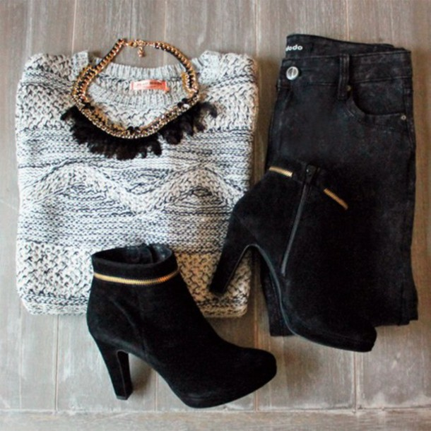 sweater jeans shoes jewels