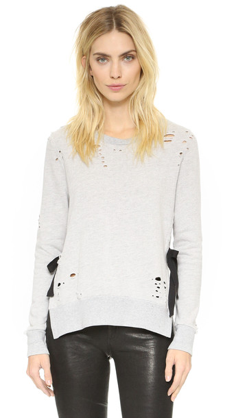 Pam & Gela Side Slit Destroyed Sweatshirt - Heather Grey
