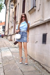 only my fashion style,blogger,blouse,skirt,shoes,sandals,high heel sandals,denim skirt,blue top,summer outfits