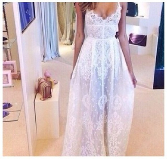 white white dress summer dress hippie dress pretty dress lace dress
