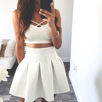 two piece dress set two-piece set crop tops white crop tops white skirt midi skirt high waisted skirt summer outfits skirt white dress white dress top bralette white top summer top cute top outfit outfit idea cute outfits spring outfits date outfit party outfits clubwear fashion style stylish clothes skater skirt mini skirt white skirt and top matching  a